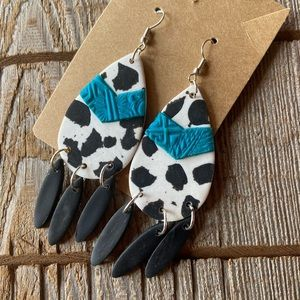 Western themed cow spotted dangle earrings
